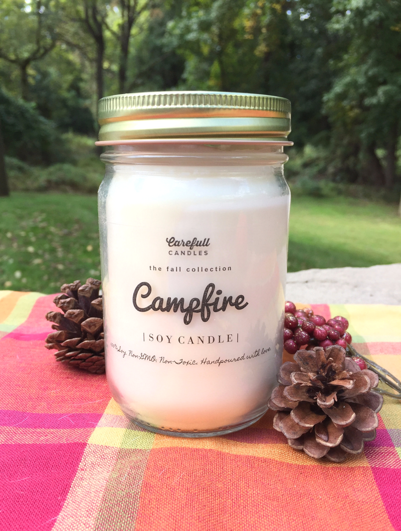 "This candle smells just like a freshly toasted marshmallow 😍 This is the Marshmallow Campfire 100% non-GMO soy candle from Carefull Candles. Enter to win it at smelltheroses.com or buy it on Etsy where code ""SMELLTHEROSES"" save you 20%!"