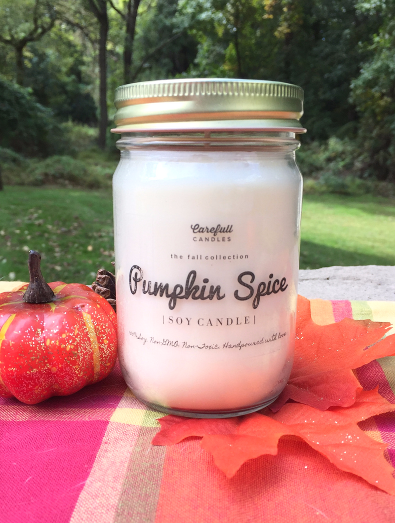 "A candle that smells exactly like a pumpkin spice latte!! This is the Carefull Candles Pumpkin Spice Scented Candle made from 100% non-GMO soy wax with no additives. The candle is scented using 100% natural essential oils and fragrance. Enter to win this candle at smelltheroses.com or buy it in their Etsy shop where code ""SMELLTHEROSES"" saves you 20% !"