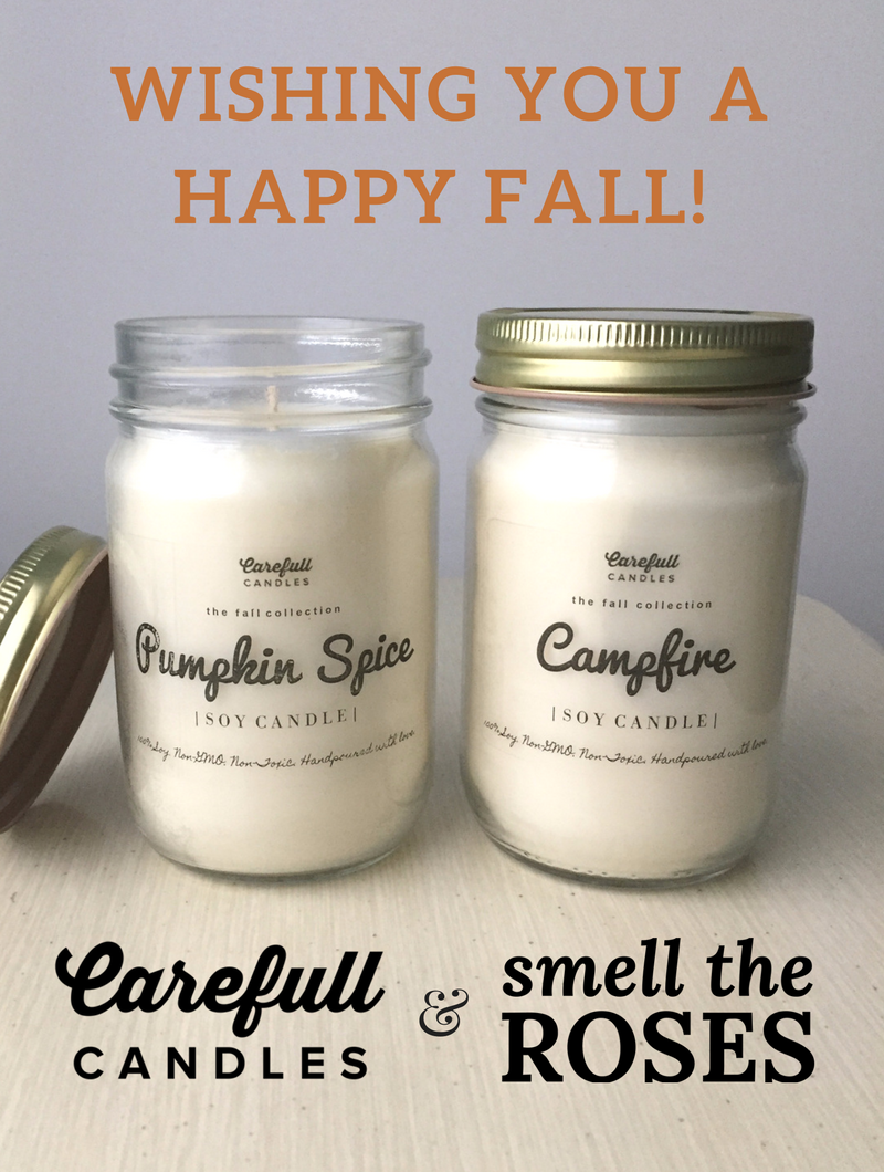 "Carefull Candles & SmelltheRoses.com Collaboration! Enter the giveaway at smelltheroses.com or purchase from the Carefull Candles Etsy shop where code ""SMELLTHEROSES"" saves you 20% off your entire order!"