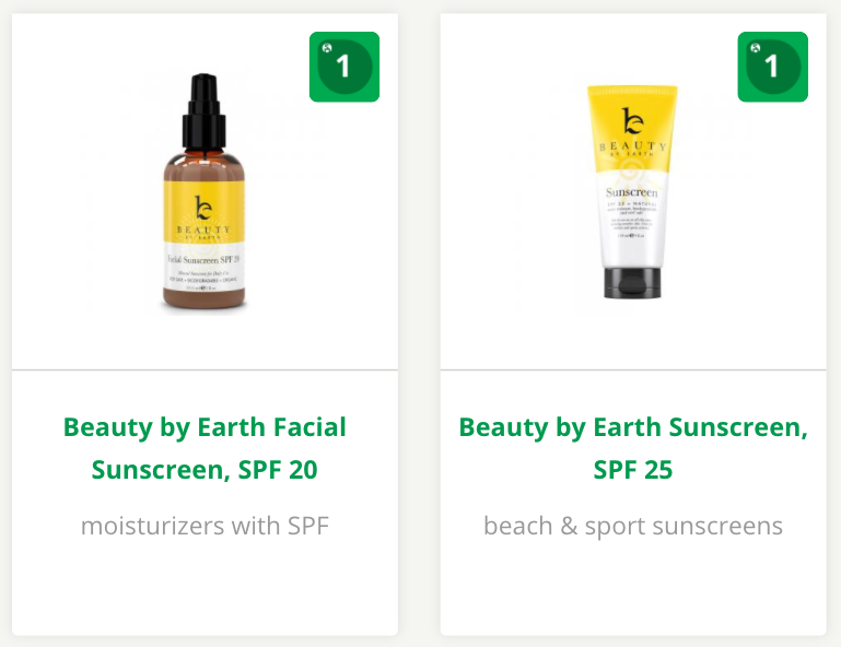 EWG Rating - Beauty by Earth Sunscreen | smelltheroses.com