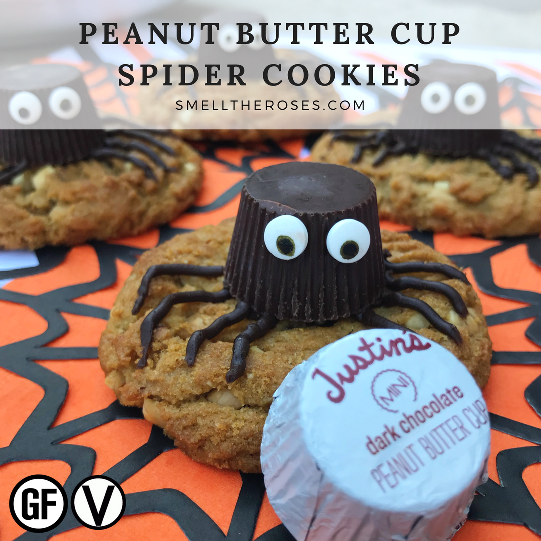 vegan halloween spider cookies - justin's pb cups - smell the roses