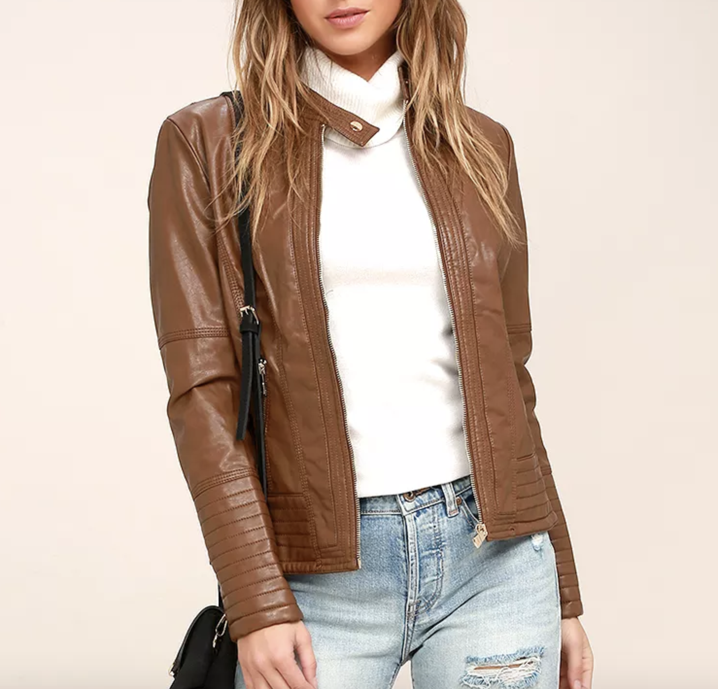 Vegan Leather Jacket from Lulu's | smelltheroses.com