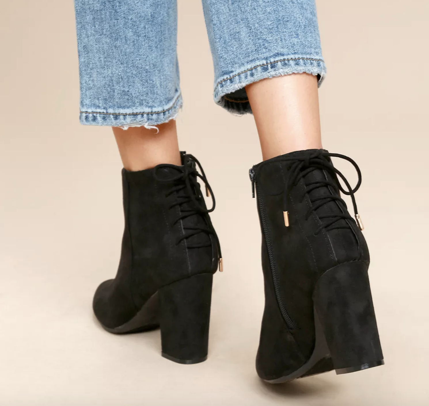 Vegan Black Suede Booties | smelltheroses.com